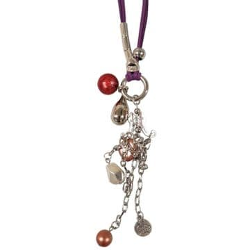 PURPLE NECKLACE with MULTIPLE BEADS and TRINKETS fashion jewellery
